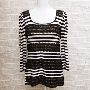 WHBM Black And White Striped  3/4 Sleeve Top SZ L